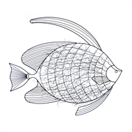 Intricate Fish Black Metal Wall Decor