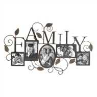 Family 5-Photo Wall Picture Frame Vines & Leaves
