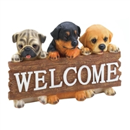 Hanging Puppy Dog Welcome Sign Decor