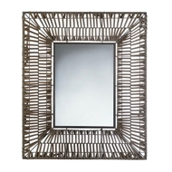 Faux Brown Rattan Rectangular Wall Mirror
