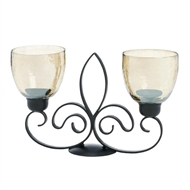 Fleur-De-Lis Duo Black Candle Stand Iridescent Cups