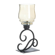 Cursive Votive Candle Stand Iridescent Glass