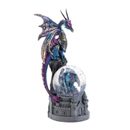 Blue & Purple Glittering Dragon on Castle Figurine
