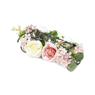 Blooming Faux Floral Candleholder Centerpiece