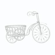 White Scrollwork Tricycle Planter Stand