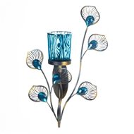 Peacock Blue Plume Single Candle Sconce