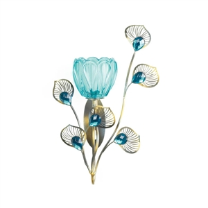 Peacock Blossom Plume Single Candle Sconce