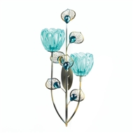 Peacock Blossom Plume Double Candle Sconce