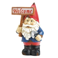 Welcome Sign Gnome Solar Statue