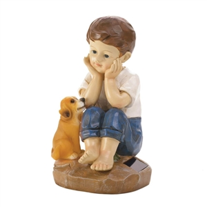 Boy and His Dog Solar Statue