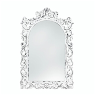 Distressed Ornate White Wood Arch Mirror