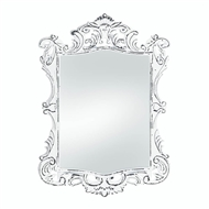 Distressed Regal White Wood Rectangular Mirror
