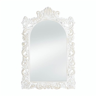 Distressed Grand White Wood Rectangular Mirror