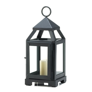 Black Mini Contemporary Metal Candle Lantern