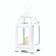 White Mini Contemporary Metal Candle Lantern