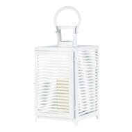 Large White Horizon Metal Candle Lantern