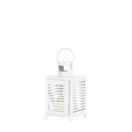 Small White Horizon Metal Candle Lantern