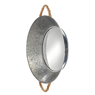 Round Metal Tin Basin Wall Mirror