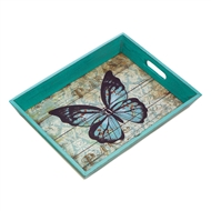 Blue Butterfly Handled Wood Serving Tray