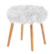 Chic White Faux Fur Stool