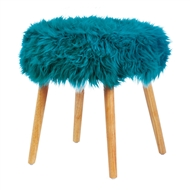 Turquoise Faux Fur Footstool