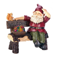 Squirrel And Gnome On Bench Solar Lightup Statue
