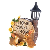Home Sweet Home Bunnies Solar Lightup Statue