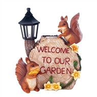 Welcome To Our Garden Squirrel Solar Lightup Statue