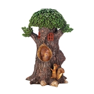 Treehouse Playful Squirrel Solar Lightup Statue