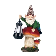 Gnome On Mushroom Solar Lightup Statue