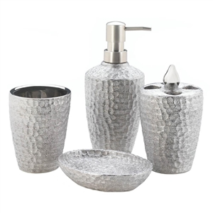 4-Pc Porcelain Hammered Silver Bath Accessory Set