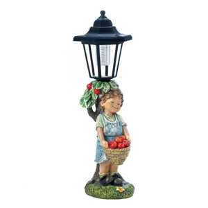 Boy Apple Basket Solar Street Light Statue
