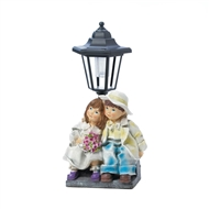Couple Under Street Light Solar Statue