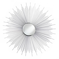 Silver Rays Spikes Round Iron Wall Mirror