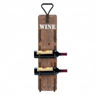 Handled 4-Bottle Wooden Wine Wall Rack