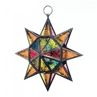 Multi Faceted Colorful Glass Star Candle Lantern
