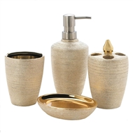 4-Pc Porcelain Golden Shimmer Bath Accessory Set