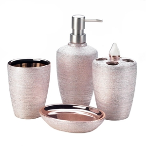 4-Pc Porcelain Rose Golden Shimmer Bath Accessory Set