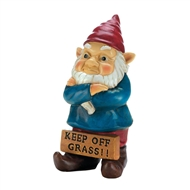 Keep Off Grass Grumpy Gnome Figurine