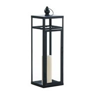 Large Black Dramatic Geometry Candle Lantern