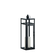 Black Dramatic Geometry Candle Lantern