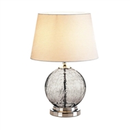 Grey Cracked Glass Orb Table Lamp