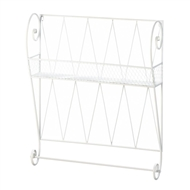 White Wire Shelf Towel Bar Wall Display