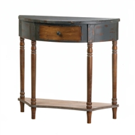 Brown Wood Half-Moon Hall Table