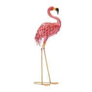 Bright Facing Forward Metal Pink Flamingo Statue