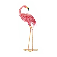 Bright Looking Back Metal Pink Flamingo Statue