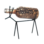 Glass Bottle Lantern on Metal Reindeer Stand
