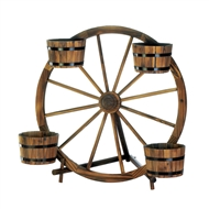 Wagon Wheel Rustic 4-Barrel Planter