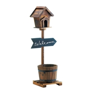 Welcome Sign Birdhouse Rustic Barrel Planter