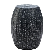 Black Moroccan Metal Lace Stool Table